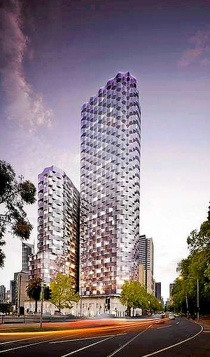 A proposed development for the corner of William and Franklin streets has towers of 50 and 30 storeys. A planned 50-storey apartment and hotel